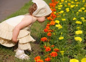 Smelling the blooming folwers